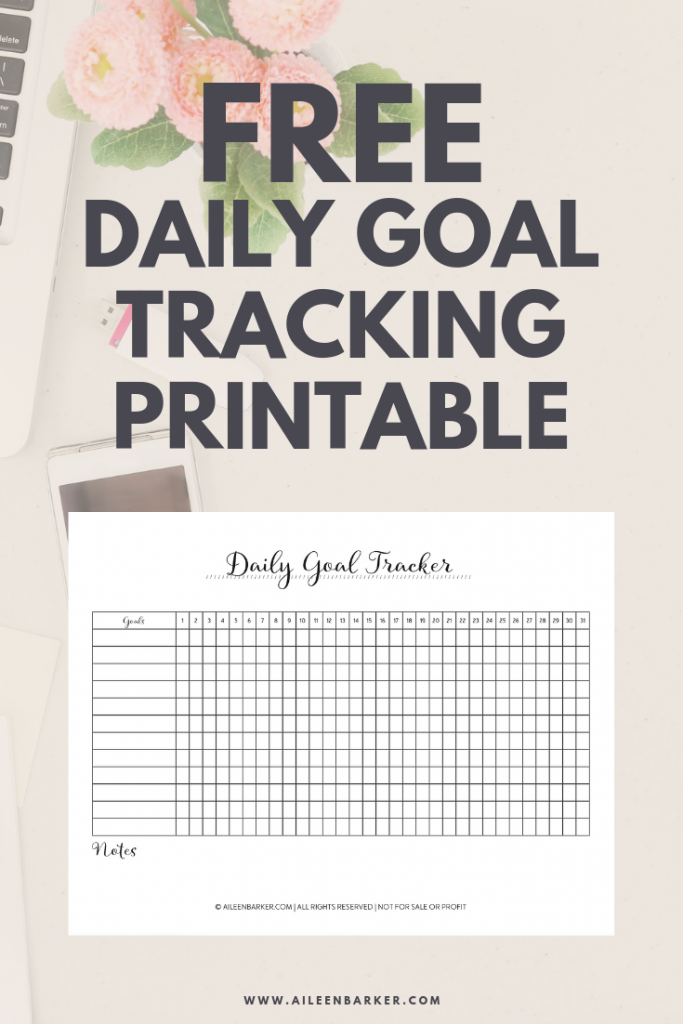 photo about Goal Tracker Printable called Free of charge Everyday Function Tracker Printable Aileen Barker